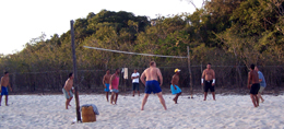 volleyball game in a peacock bass camp