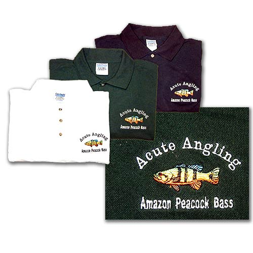 peacock bass fishing polo shirt