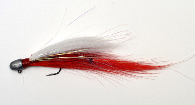 Red-White peacock bass jig