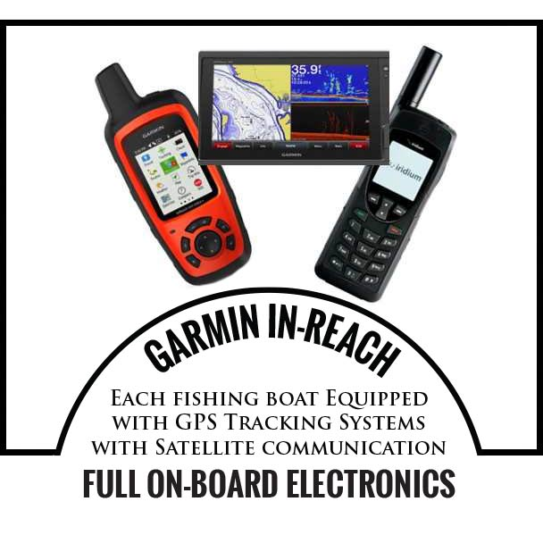 GARMIN IN-REACH - Each fishing boat Equipped with GPS Tracking Systems with Satellite communication – FULL ON-BOARD ELECTRONICS